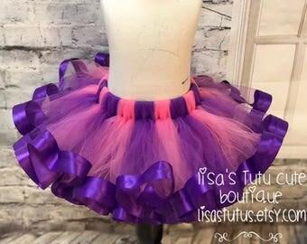 Pink and purple tutu, pink tutu, purple tutu, purple ribbon tutu, cheshire cat tutu, doc mcstuffins tutu, doc mcstuffins birthday tutu