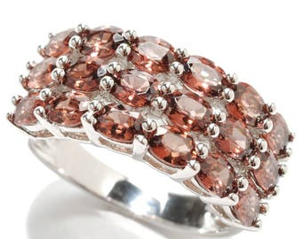 Sterling Silver 4.30ctw Raspberry Zircon Cluster Band Ring SZ 6,7,8