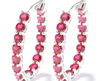 """Sterling Silver 12.48ctw Ruby Hoops Earrings 1.2""""L"""