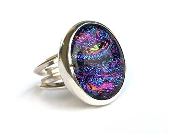 Purple Dichroic Glass Ring Size 8 .. Purple and Blue Dichroic Glass Ring .. Handmade Jewelry