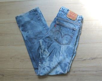 Vintage Men's Levi 517 jeans distressed and destroyed denim, W34 x L32