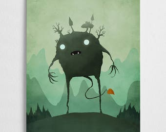 Forest elemental, green art print, mystical illustration // Elemental