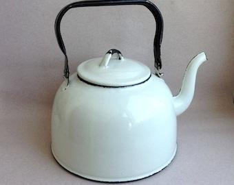 Large enameled Soviet vintage kettle Authentic Soviet vintage teapot Retro cottage Coffee pot Old enameled good condition kettle white