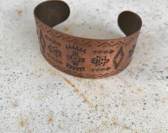 Vintage Copper Wrist Cuff / Stamped Copper Bracelet / Southwestern Tourist Jewelry / Native Tourist Cuff