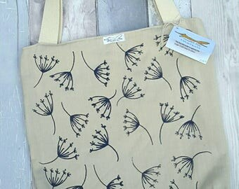 Organic cotton tote bag, natural, navy, nature, leaves, plants, gardening, shopping, screenprinting, cream, gift, zipped pocket
