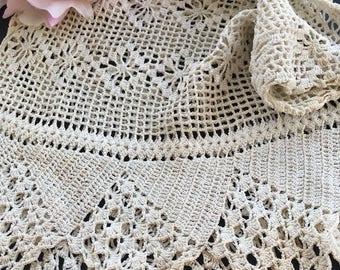 Antique Ecru Cotton Crocheted Filet Lace Drawstring Ladies Handbag