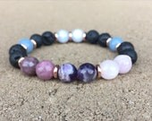 8mm Anxiety and Depression Diffuser Essential Oil Gemstone Bracelet - Lava, Amethyst, Kunzite, Lepidolite Angelite, Blue Lace Agate