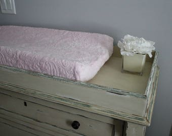 Baby Pink Embossed Paisey Minky Contoured Changing Pad Cover - Nursery, Changing Table, Baby Shower