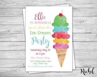 Ice Cream Party Invitation - Digital PDF or JPG