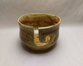 YARN BOWL - Salt Buff Reverse J Cut - Hand Made Ceramic #807