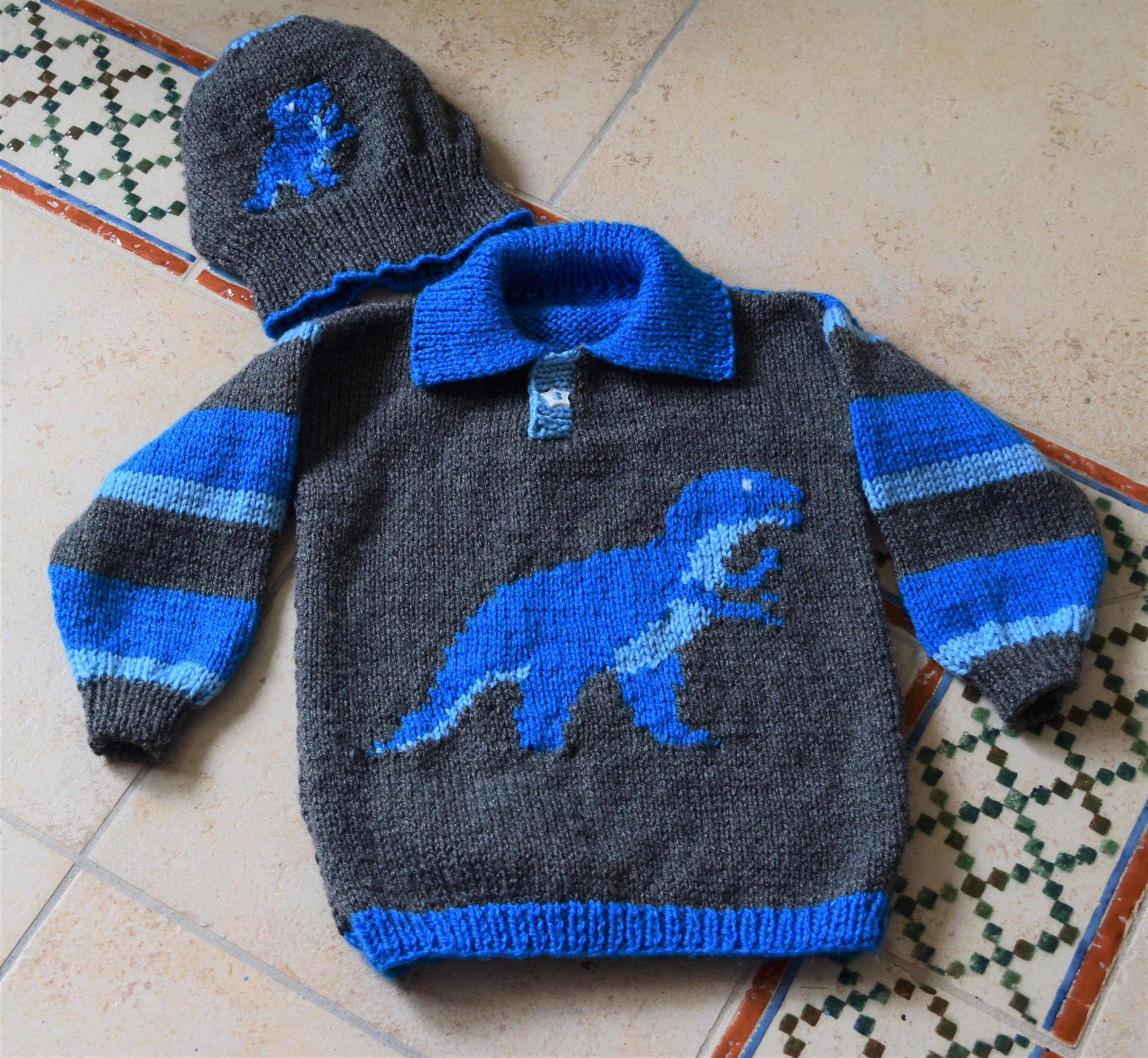 Dinosaur Child's Sweater and Hat - Tyrannosaurus ...