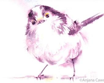 Cute Bird Card, Long tailed tit, Blank Greetings Card, Bird Card, Bird Watercolour, Watercolor art,