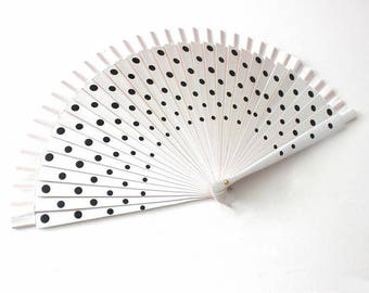 Hand Fans, hand fan, Abanico, fan in white with black dots
