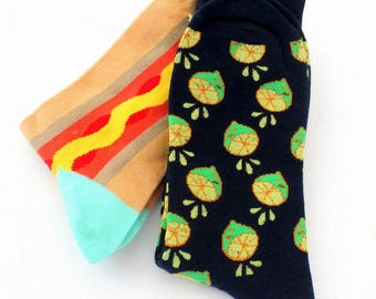 Socks, colorful, funny socks, 2pair,deep-navy blue-with lemon halves, and abstract pattern, beige,tuquoise and red