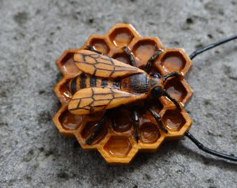 Honeybee on a Honey Comb Necklace