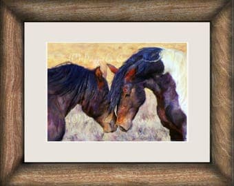 wild mustangs nuzzling painting print: paint horse stallion and mare print on canvas, horse wood decor, wild horses decor, horse art on wood