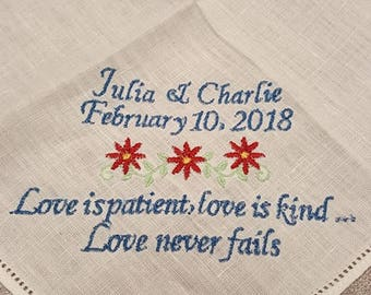Wedding handkerchief, something blue, Love never fails, something new, Personalized wedding handkerchief, bridal handkerchief
