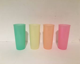 Neon Tupperware Plastic Cups (4)