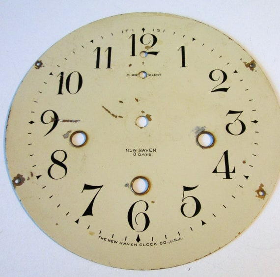 "6 1/2"" original Painted Solid Brass New Haven Clock Co. Dial for your Clock Projects, Steampunk Art"