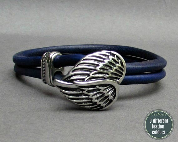 Angel Wings Leather Bracelet, Stainless Steel Mens Leather bracelet Cuff Gift For Men Customized On Your Wrist
