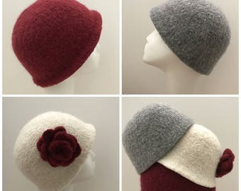 Felted Beanie Hat Pattern - Three Styles and Flower