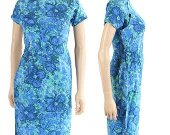 EXQUISITE Vintage 1940s Silk Dress Asian Cheongsam Blue Flowers Novelty Print, Size S XS
