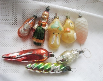 Set of 8 Vintage Soviet Christmas tree decorations, Christmas Glass tree Ornament - Made in USSR