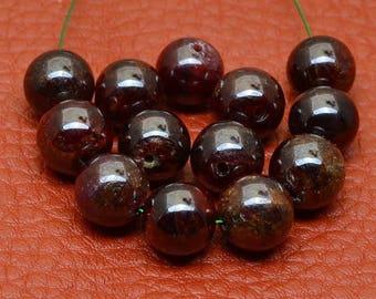 10mm Natural Red Garnet Gemstone Round Beads