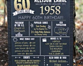 PRINTED 60th birthday poster, Back in 1958, What Happened in 1958, 60th Birthday Decorations, Black and Gold, 60th Party Decor, Vintage 1958