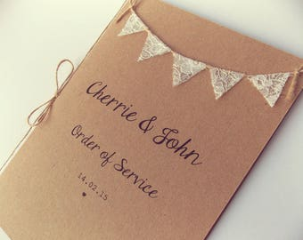 Custom listing for Laura G - Order of service booklets, place cards and Menus  - Rustic Wedding Invitation Lace Bunting