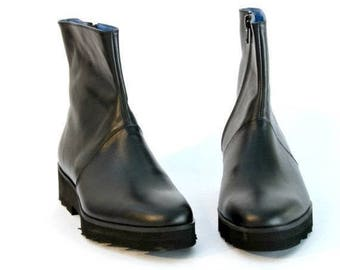 ON SALE Black Platform Boots with Side Zipper - Black Boots - Black Shoes - Black Wedge Shoes - Platform Boots - Women's Boots - Arama Shoes