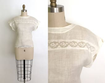 vintage 1950s style top | 50s style linen top