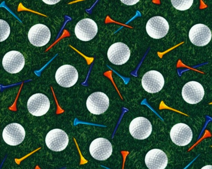 Tee Time by Timeless Treasures Cotton Fabric 1/2 Yard Cut New Golf Balls