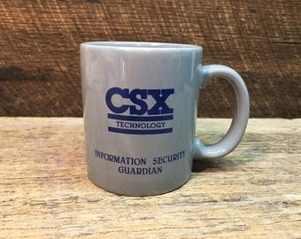 Vintage CSX Mug/Train/Technology/Information Security Guardian/Collectible