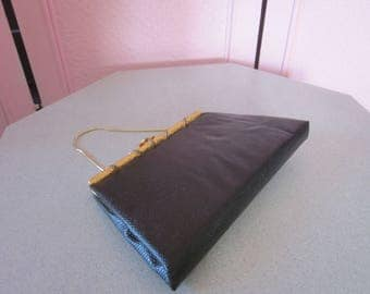 """1960s Black Reptile-Embossed Vinyl Clutch by """"After Five"""""""