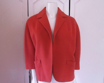 """1950s Red Wool Jacket """"Tailored by Originala Stroock,"""" Size Small"""