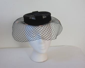 "1950s Black Velvet and Veil Open Crown Hat by ""L. S. Ayres & Co."""