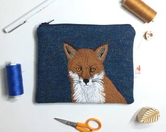 Fox zip pouch - fox purse - blue Harris Tweed purse - fox zip purse - fox cosmetic pouch - harris tweed bag- embroidered fox -Scottish gift