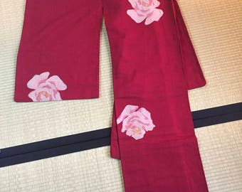 Red kimono with rose floral pattern