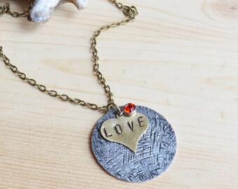 Heart Pendant Necklace - Handstamped Necklace - Birthstone Necklace - Love Necklace
