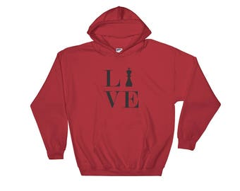 Hooded Sweatshirt - Live Love Chess Black King Hoody