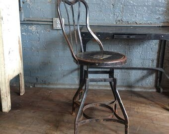 Early Toledo Steel adjustable machinist stool/chair for drafting tables bars or desk industrial design w/ back