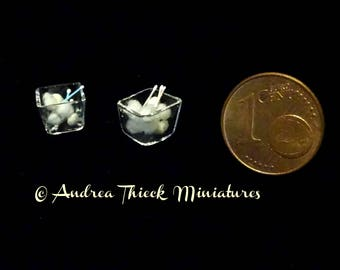 Miniature Glas with Cotton Balls and Q-Tips - Artisan Handmade Miniature 1:12 scale