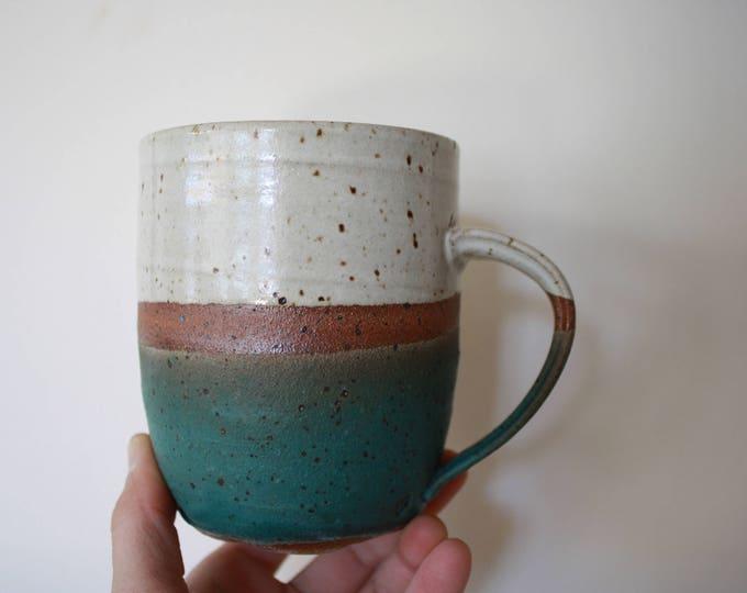 Coffee Mug - Earthenware - White and Turquoise - Ceramics & Pottery - KJ Pottery