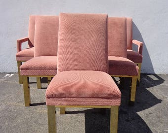 6 Dining Chairs Milo Baughman DIA Brass Mid Century Modern MCM Hollywood Regency Pink Boho Chic Vintage Set of Chair Seating Armchair Design