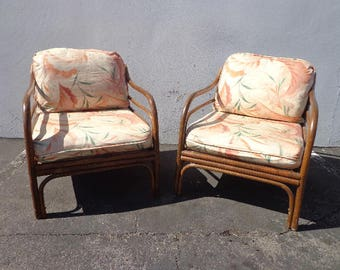 2 Chairs Pair of Armchair Rattan Bohemian Boho Beach Bentwood Asian Chinoiserie Bamboo Vintage Mid Century Modern Furniture Seating Peacock