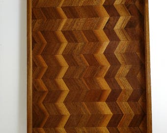 Vintage wood tray with Chevron pattern inlay