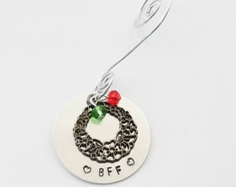 BFF Gift, BFF Ornament, Best Friend Christmas Ornament, Custom Ornament, Weath Ornament, Snowflake Ornament