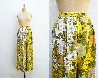 VINTAGE 1970s Golden Florals Summer Maxi Skirt | High Waisted Full Length Skirt | Pleated Cotton Linen Skirt | Hippie Boho Folk Festival