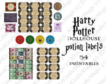 Harry Potter Dollhouse mini Potion Cabinet set - 54 printable bottle labels Hogwarts miniature apothecary - jpg pdf digital instant download